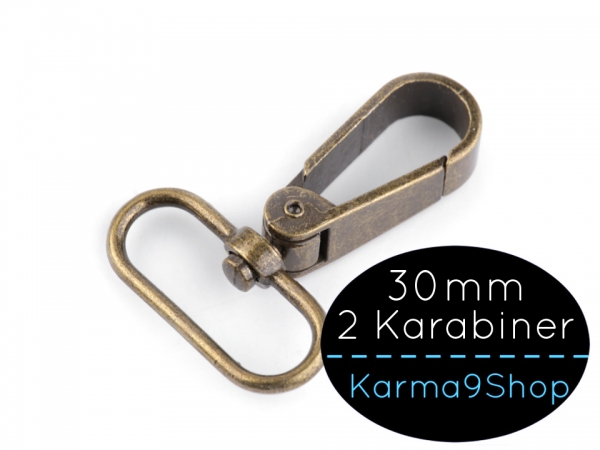 2 Karabiner 30mm #3 altmessing