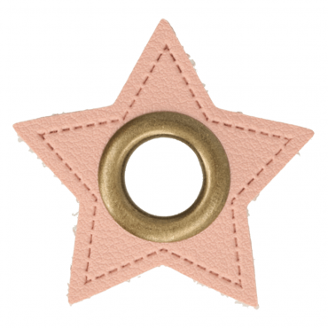 2 Kunstleder-Ösen-Patches Stern rosa 11mm bronze