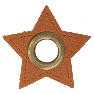 2 Kunstleder-Ösen-Patches Stern braun 11mm bronze