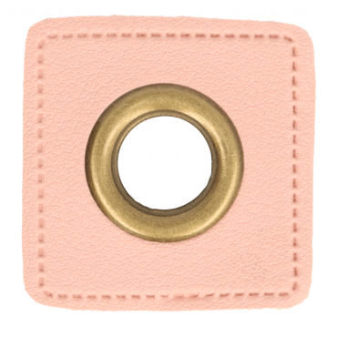 2 Kunstleder-Ösen-Patches rosa 14mm bronze