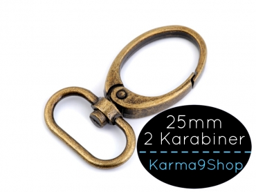 2 Karabiner 25mm #4 altmessing