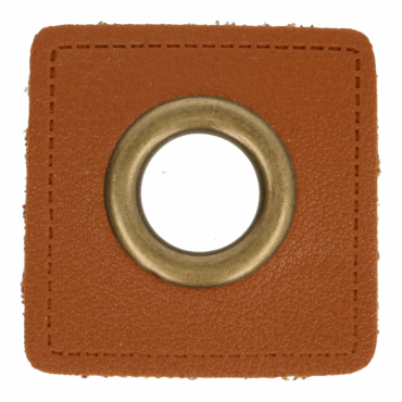 2 Kunstleder-Ösen-Patches braun 11mm bronze