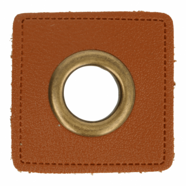 2 Kunstleder-Ösen-Patches braun 14mm bronze