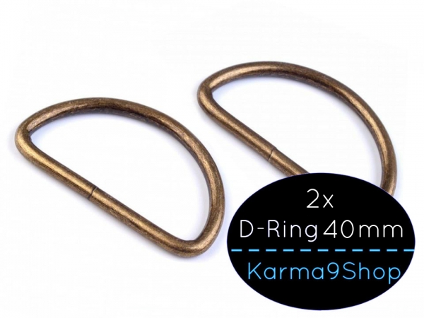 2 D-Ringe 40mm #2 altmessing