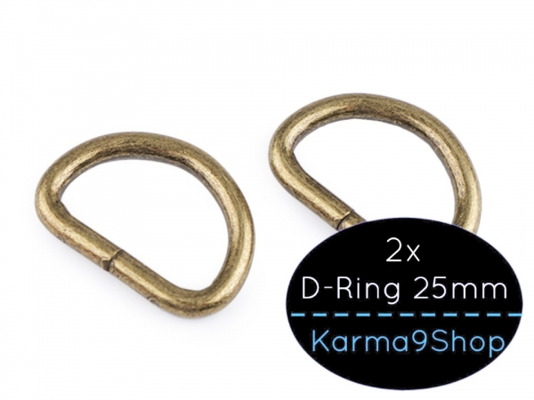 2 D-Ringe 25mm #2 altmessing