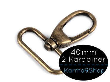 2 Karabiner 40mm #5 altmessing