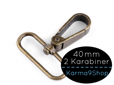 2 Karabiner 40mm #4 altmessing