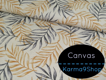 0,5m Canvas Leaves grey / gold