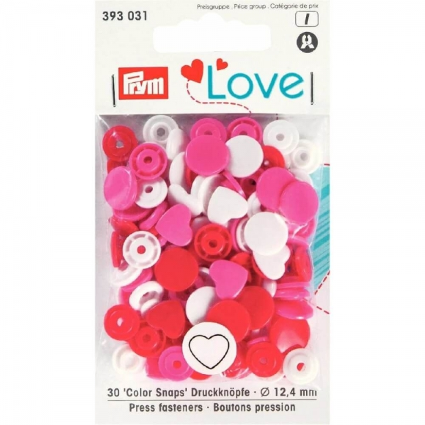 "Prym ""Color Snaps"" Love weiss / rot / pink 393031"