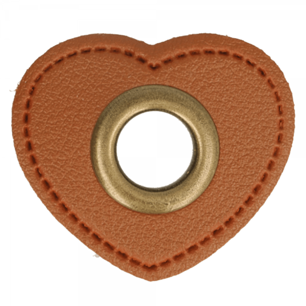 2 Kunstleder-Ösen-Patches Herz braun 11mm bronze